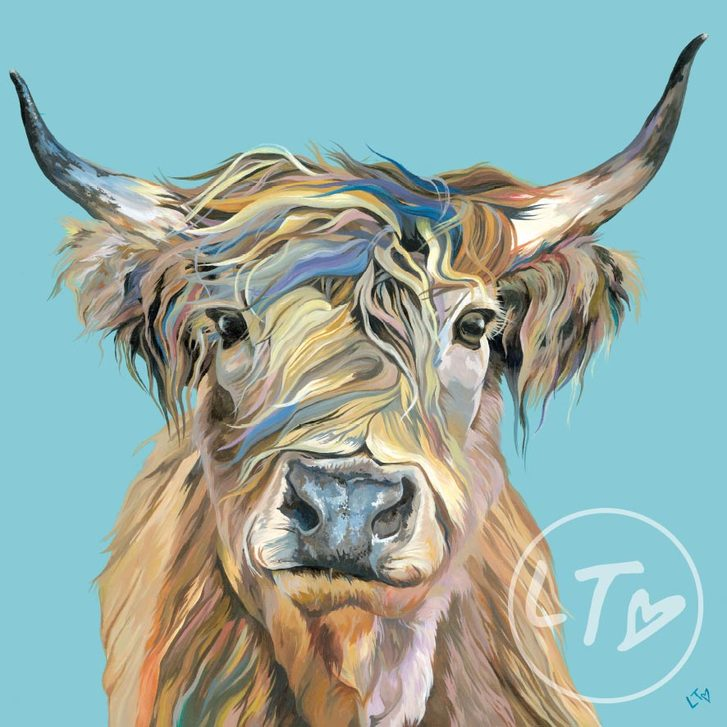 Heather, a colourful Highland cow art print by Lauren's Cows