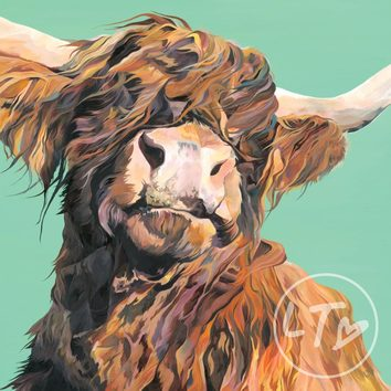 William 'Wallace' the Highland Cow. Limited edition print with green background.