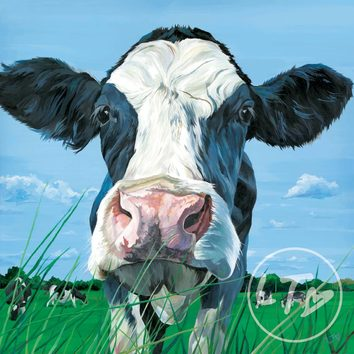 Portrait for a friesian holstein cow in a field of grazing cows.