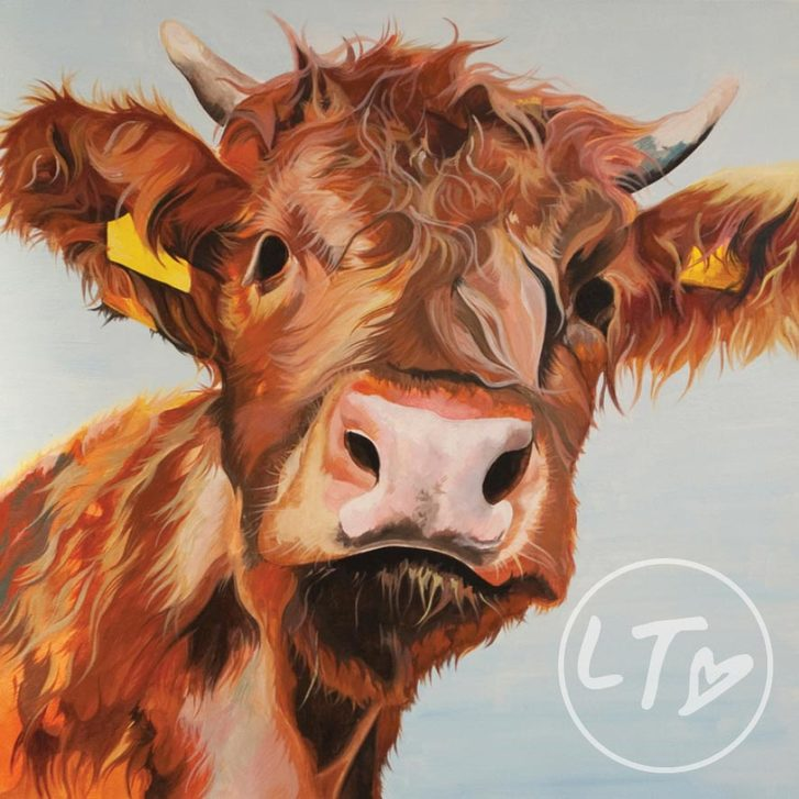 Personalised Highland cow calf print by Lauren's Cows.