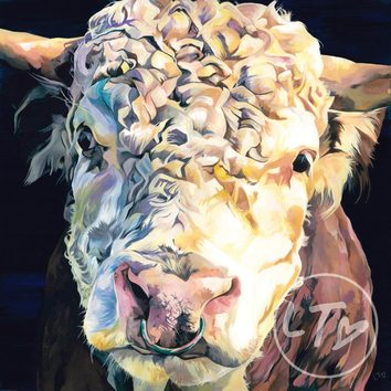 Lauren Terry's striking painting of a Hereford bull with Nose ring