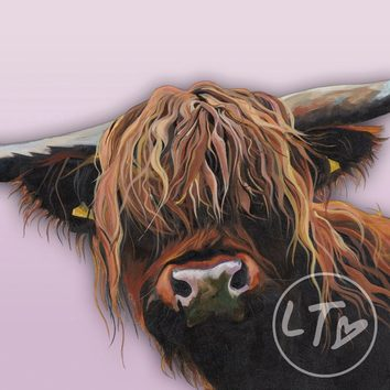 A beautiful Highland Cow giclee print with pink background.