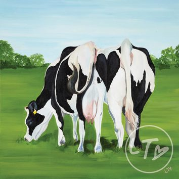 'Cheek to Cheek' a cheeky cow print with a romantic twist by Lauren's Cows