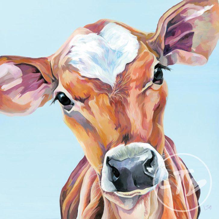 Original Painting of a jersey calf with love heart marking on forehead