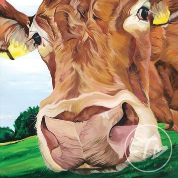 Country themed painting of a Limousin cow in her field