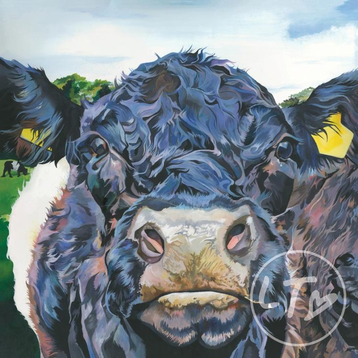 Landscape painting of a filed of Belted Galloway cows by Lauren Terry