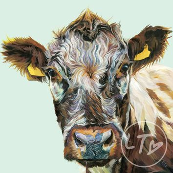 'Clover' Detailed painting of a curious cow
