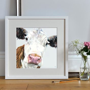 Open Edition Hereford Calf Card by Lauren Terry