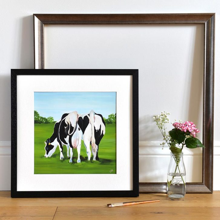 Framed Print of Cows making a love heart