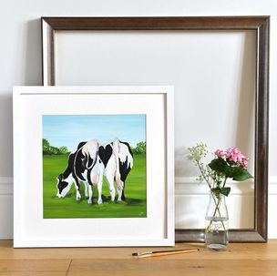 Fun Friesian Cattle Print in frame by Lauren's Cows