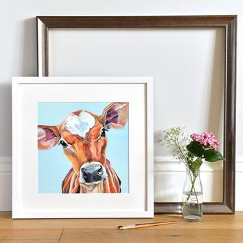 Open edition print of a cute Jersey Calf