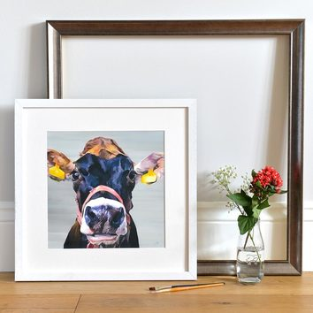 Jersey Cow Print framed in White