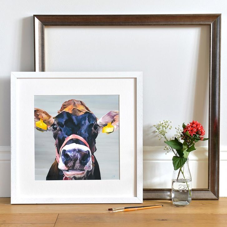 Framed giclee print of jersey cow in halter by Lauren's Cows