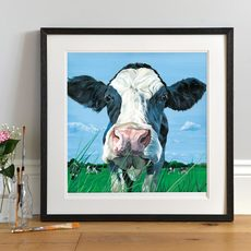 Lifestyle photo of a Framed Found You print by Lauren's Cows