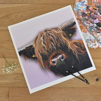 unmounted giclee art print of a Highland Cow