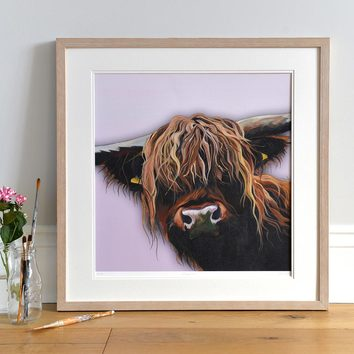 Lifestyle photo of a Framed Chieftain limited print by Lauren's Cows