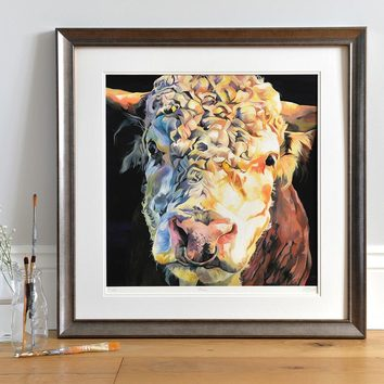 Limited edition artwork of a Hereford Bull