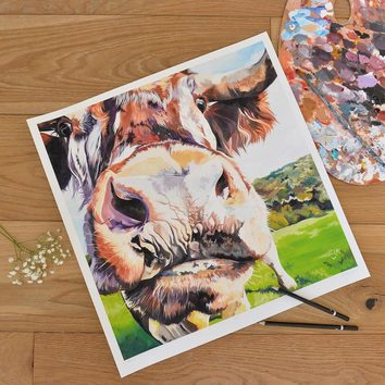 Unmounted limited edition print of a contemporary cow painting.