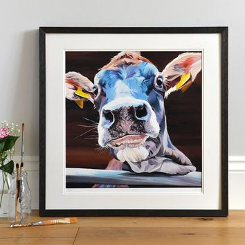 Lifestyle photo of a Framed Jody limited edition print by Lauren's Cows