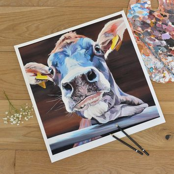 unmounted limited edition print of a blue faced jersey cow by Lauren Terry