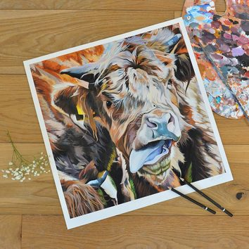 Art print by Lauren Terry of Highland Cow with tongue out