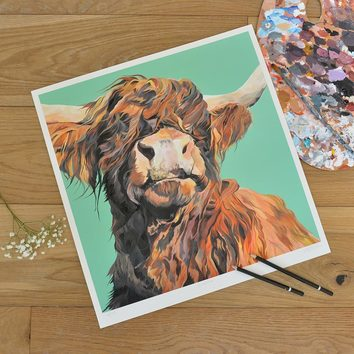 Unmounted Green background Highland Cow Limited Edition print