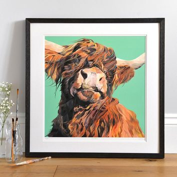 Lifestyle photo of a Framed Wallace limited edition print by Lauren's Cows