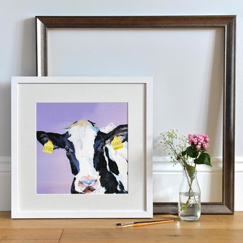 Minnie - Friesian Calf Print by UK artist
