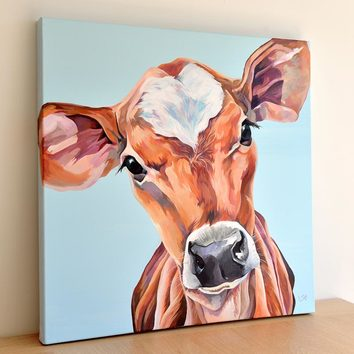 Jersey Cow original painting. Acrylic on linen canvas by Lauren Terry