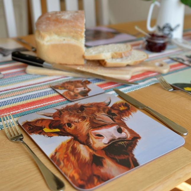 Cow art Table Mats for a contemporary table setting