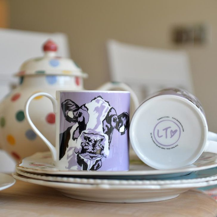 'Molly' a purple china cow Mug for the country Kitchen