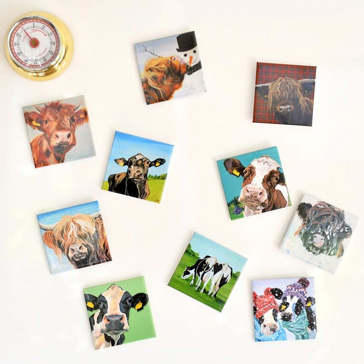 Cow fridge magnets to add character and colour to your white goods!