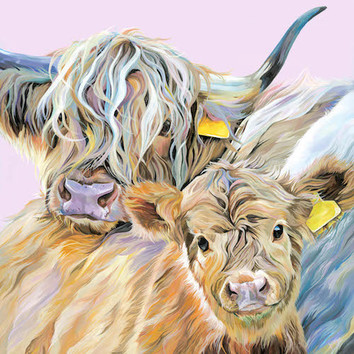 A greedy Highland Cow painting by Lauren Terry