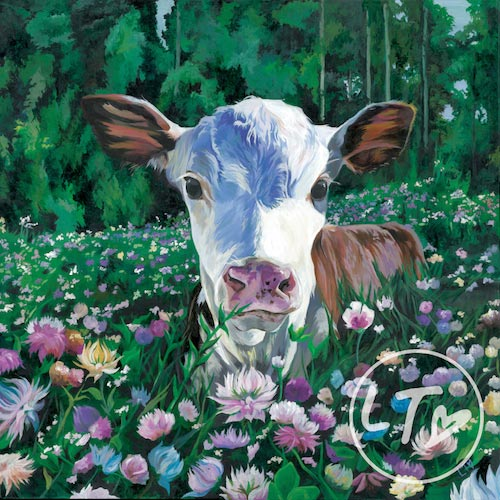 Posy a colourful print of a calf in a field of flowers