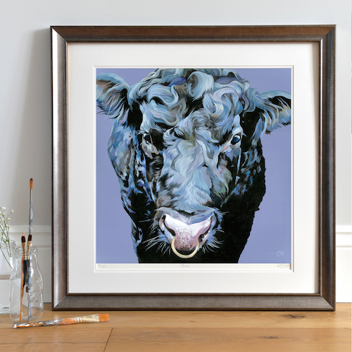 Aberdeen Angus bull painting by Lauren Terry