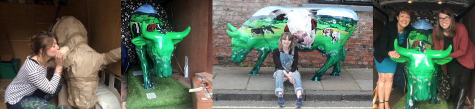 A collection of photos of Lauren Terry's Surrey Cow Parade entry Clarabelle