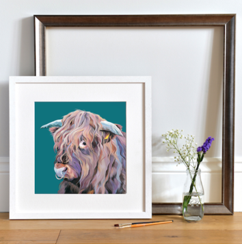 Framed art print of Highland Bull with nose ring