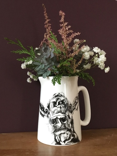 Country Flowers in Milk Jug