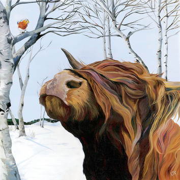 An original painting of a Archie the Highland Bull as seen on Countryfile