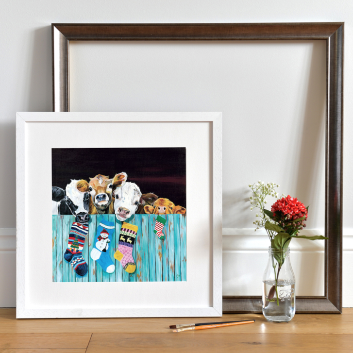 Curious Hereford Cow print by Lauren's Cows