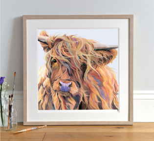 Colourful Highland Cow Printing by Lauren's Cows