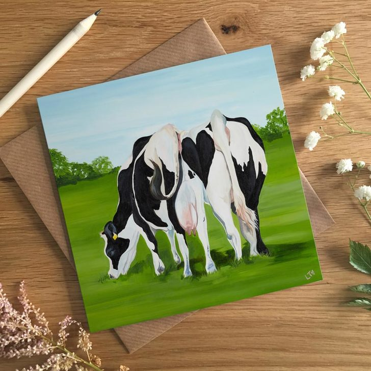 Cheek to Cheek, Funny Valentines Card by Lauren's Cows
