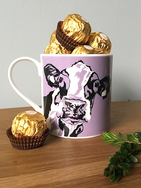 Cow Mug full of chocolates for Valentine's Day