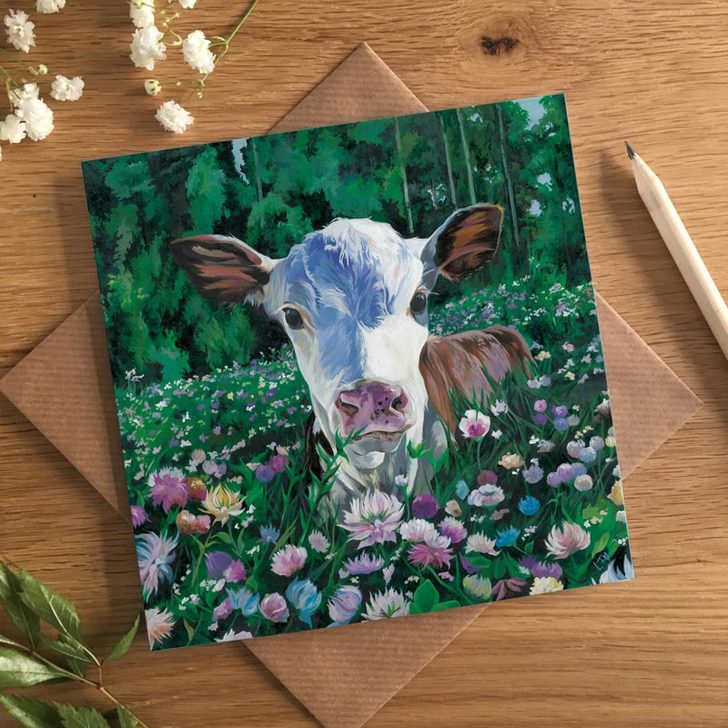Cute Hereford Calf painting by Lauren's Cows