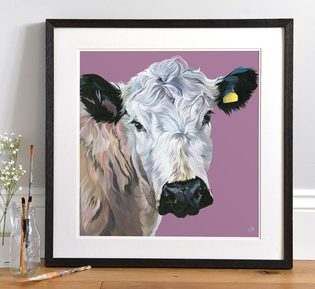 Bright Coloured Cow Painting