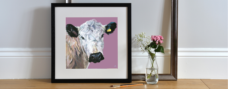 Framed art print of 'Hermione' by Lauren's Cows
