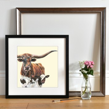 Dusty & Dec Texas Longhorn Art Print