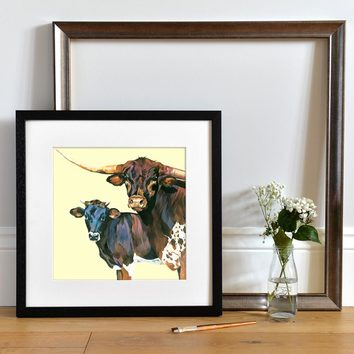 Lifestyle photo of a Framed Texas Longhorn Bull and Steer by Lauren's Cows