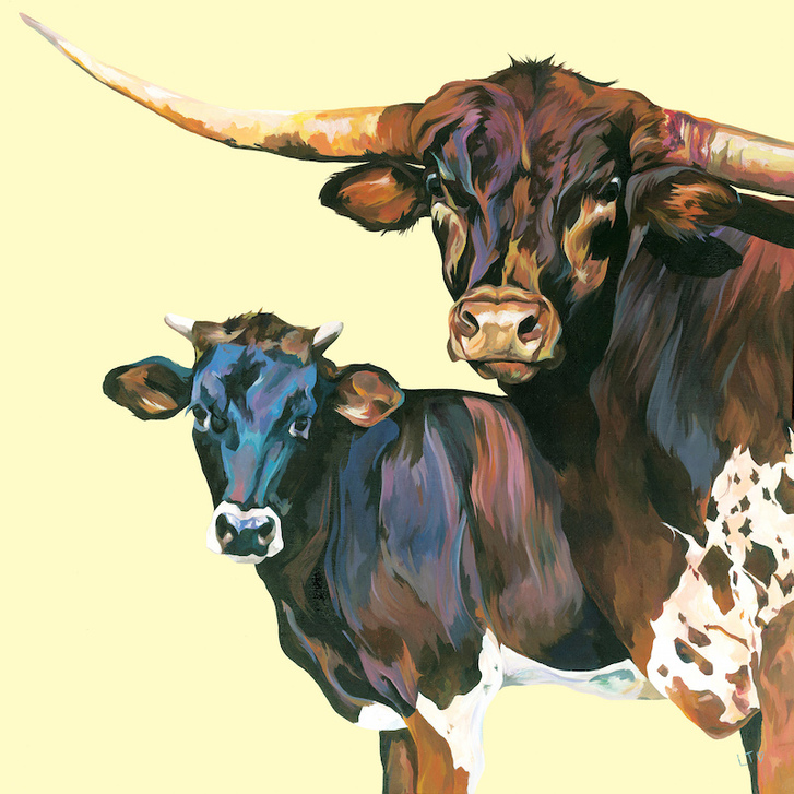 Original Painting of a Texas Longhorn Bull and Steer by Lauren Terry