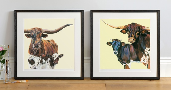 Texas Longhorn Family, by Lauren's Cows